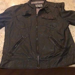Black leather motorcycle affliction jacket